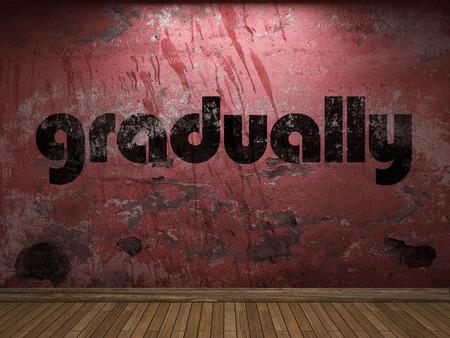 gradually: gradually word on red wall