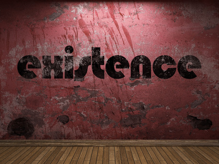existence: existence word on red wall Stock Photo