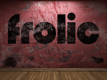 frolic: frolic word on red wall Stock Photo
