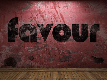 favour: favour word on red wall Stock Photo