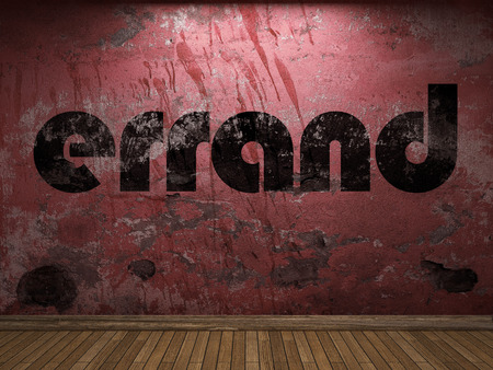 errand: errand word on red wall Stock Photo