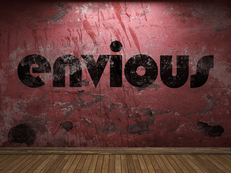 envious: envious word on red wall