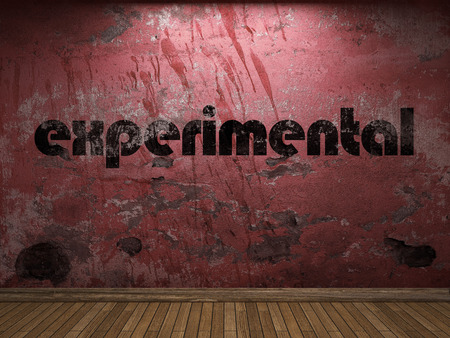 the experimental: experimental word on red wall