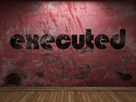 executed: executed word on red wall