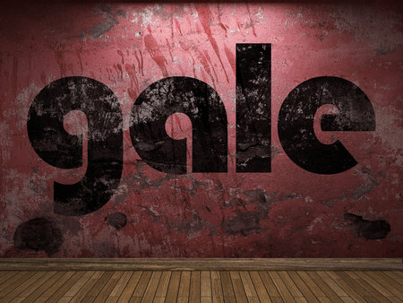 gale: gale word on red wall