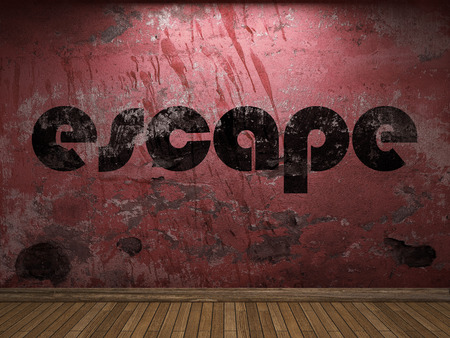 the escape: escape word on red wall