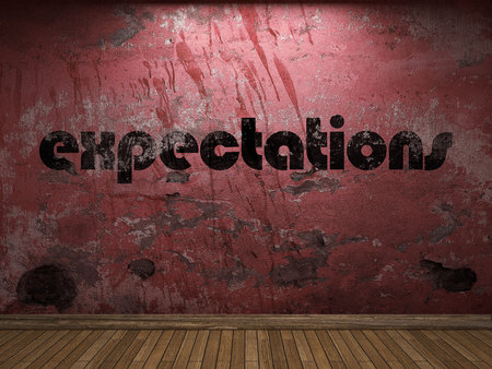expectations: expectations word on red wall
