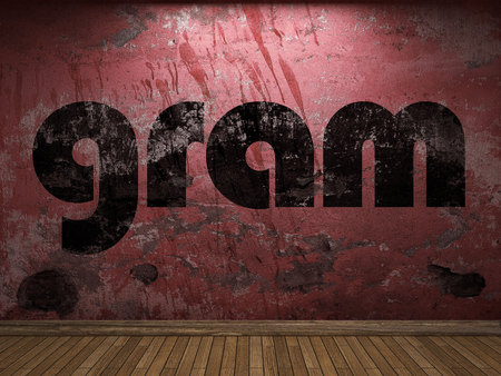 gram: gram word on red wall Stock Photo
