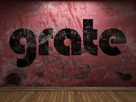 grate: grate word on red wall