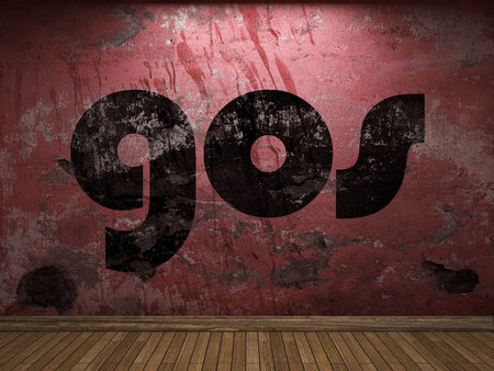 gos word on red wall Banco de Imagens