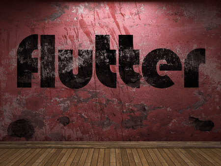flutter: flutter word on red wall Stock Photo