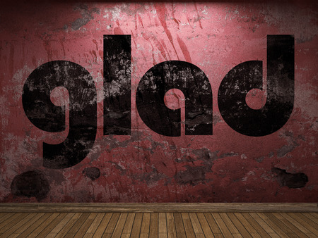 glad: glad word on red wall