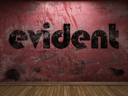 evident: evident word on red wall