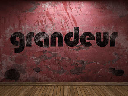 grandeur: grandeur word on red wall