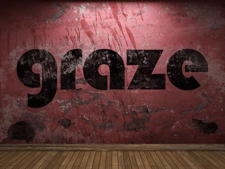 graze: graze word on red wall Stock Photo