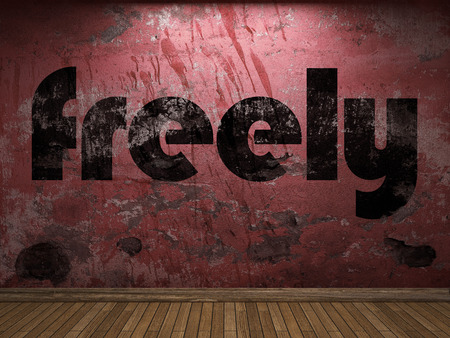 freely: freely word on red wall