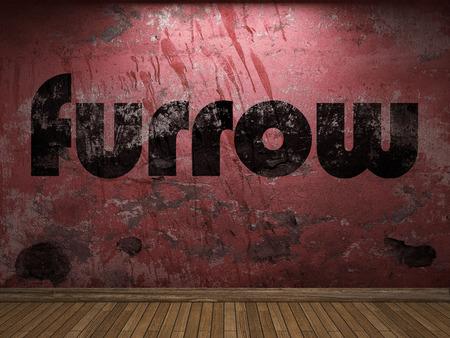 furrow: furrow word on red wall