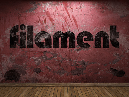 metal filament: filament word on red wall