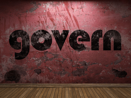 govern: govern word on red wall