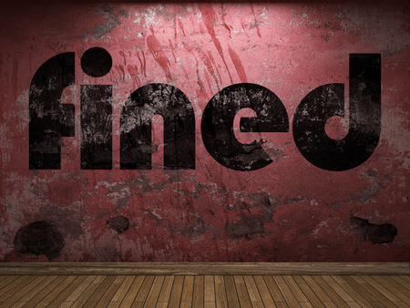 fined: fined word on red wall