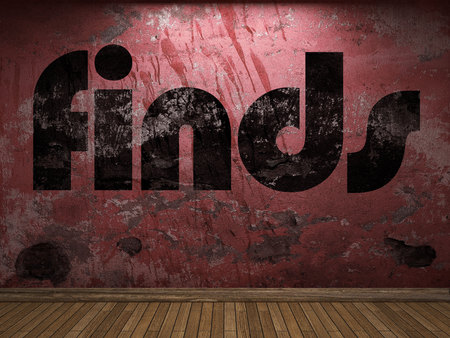 finds: finds word on red wall Stock Photo