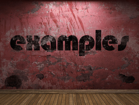 examples: examples word on red wall