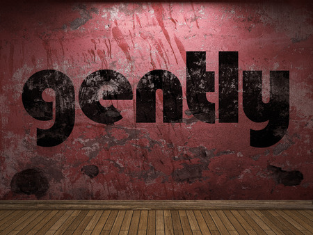 gently: gently word on red wall