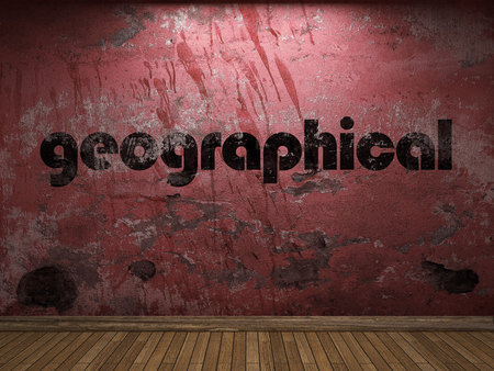 geographical: geographical word on red wall Stock Photo