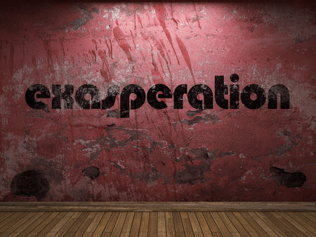 exasperation: exasperation word on red wall