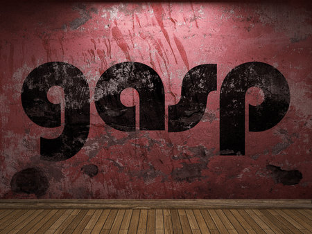 gasp: gasp word on red wall