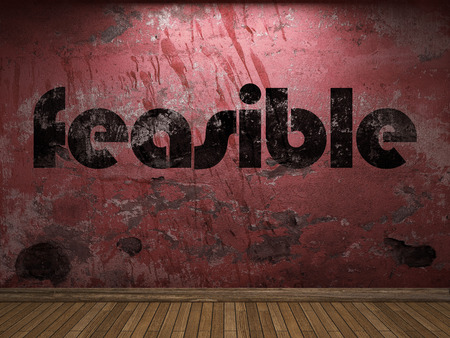 feasible: feasible word on red wall