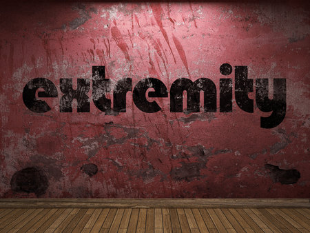 extremity: extremity word on red wall Stock Photo