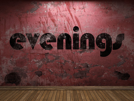 evenings: evenings word on red wall