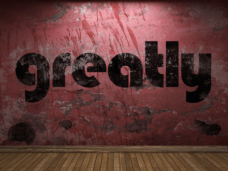 greatly: greatly word on red wall