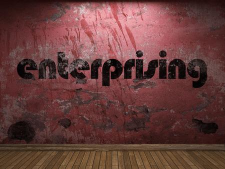 enterprising: enterprising word on red wall