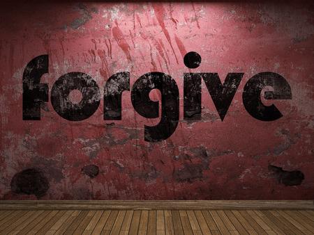 to forgive: perdone la palabra en la pared roja