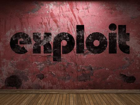 exploit: exploit word on red wall Stock Photo