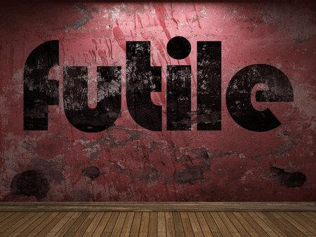 futile: futile word on red wall Stock Photo