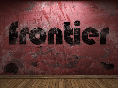 frontier: frontier word on red wall Stock Photo
