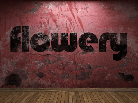 flowery: flowery word on red wall