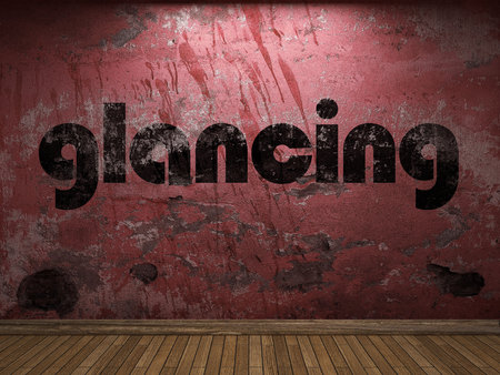 glancing: glancing word on red wall