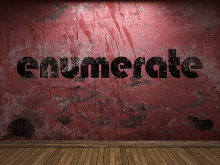 enumerate: enumerate word on red wall Stock Photo