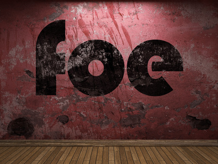 foe: foe word on red wall Stock Photo