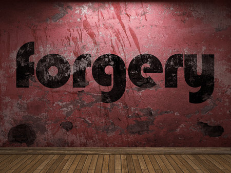 forgery: forgery word on red wall Stock Photo