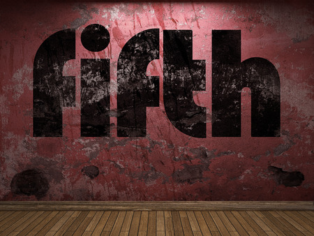 fifth: fifth word on red wall