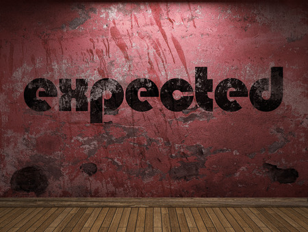 expected: expected word on red wall Stock Photo