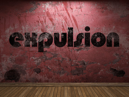 expulsion: expulsion word on red wall Stock Photo
