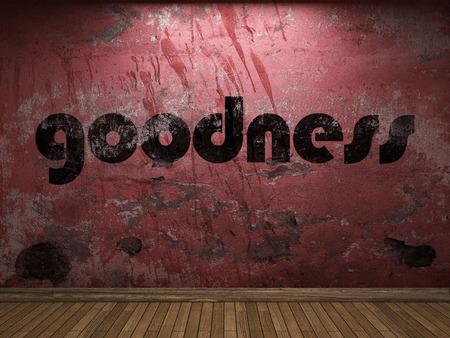 bondad: palabra bondad en la pared roja