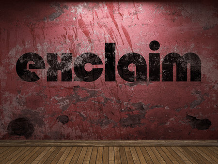 exclaim: exclaim word on red wall Stock Photo