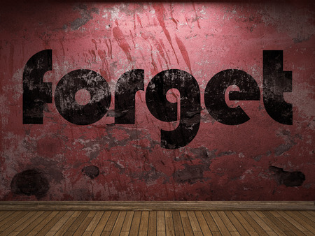 forget: forget word on red wall